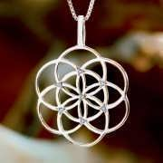 Seed of Life Pendant Gold With Gemstones 434