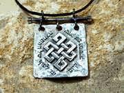 Tibetan Knot Square Silver 103