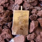 Tarot Fool Card Pendant Gold 523