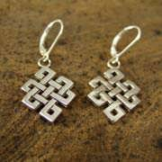 Tibetan Knot Earrings Silver 485