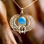 Winged Scarab Gold with Turquoise 270