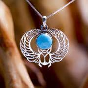Winged Scarab Silver with Turquoise 269