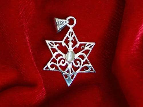 Inlaid Star of david - silver with cat's eye chrysoberyl