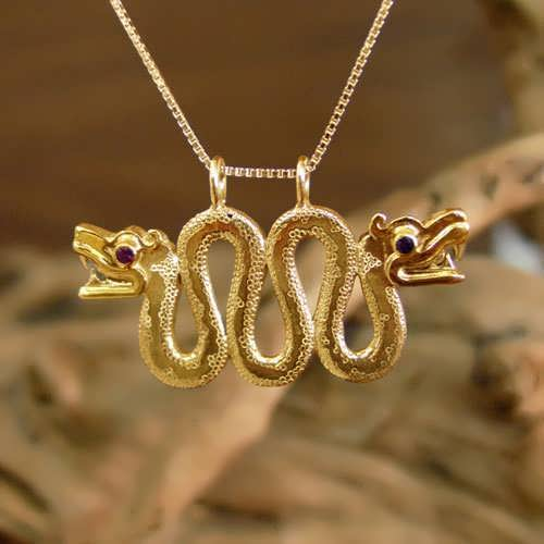 Double-Headed Serpent Gold with Ruby