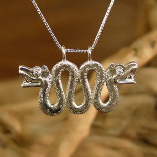 Double-Headed Serpent Silver with Diamond
