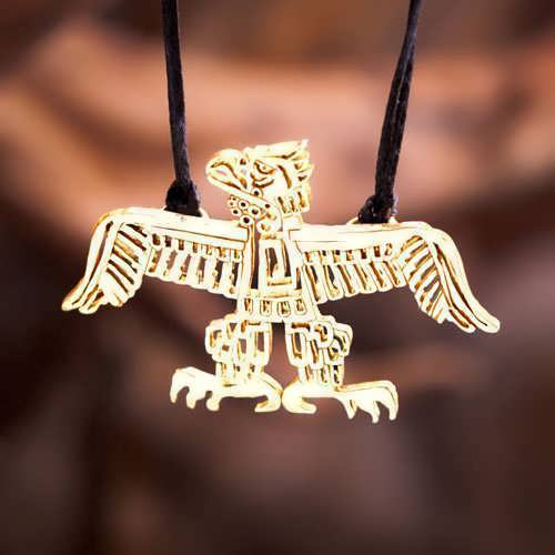 Native American Thunderbird Pendant Gold