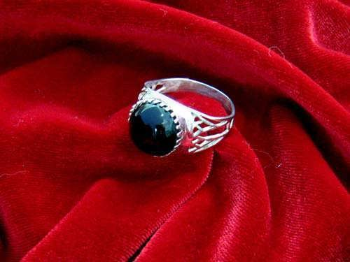 Egyptian Lotus ring silver with Onyx