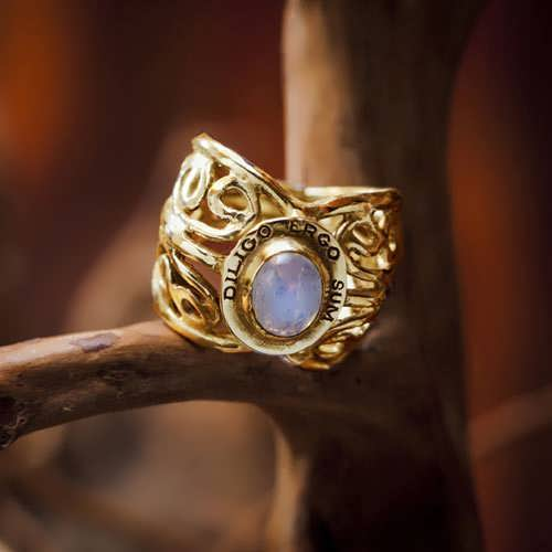 I Love Therefore I Am Ring Gold with Moonstone