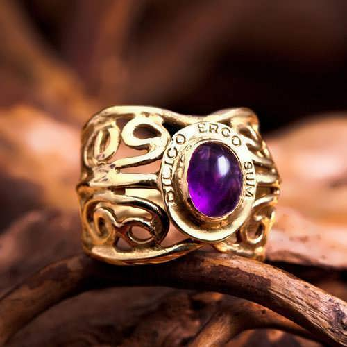 I Love Therefore I Am Ring Gold with Amethyst