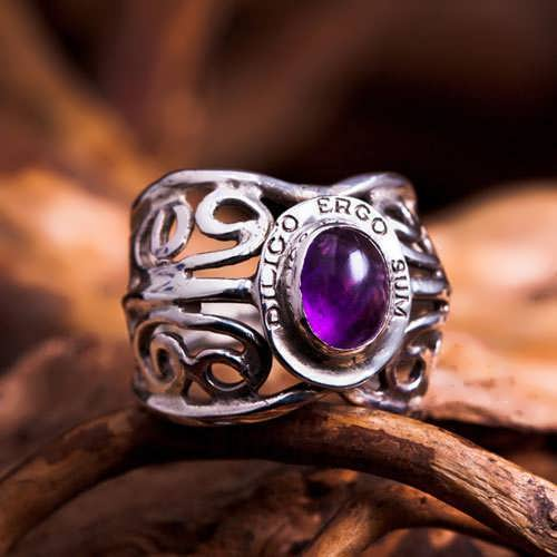 I Love Therefore I Am Ring Silver with Amethyst