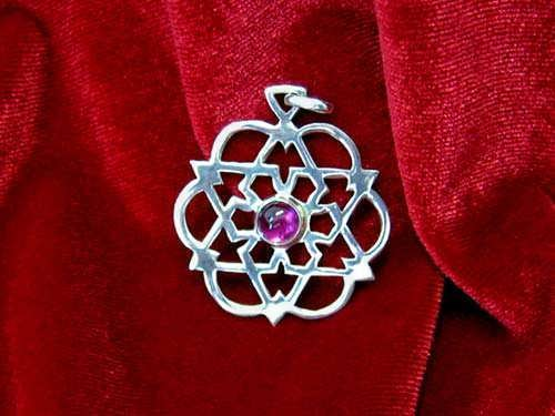 Inlaid egg of life star silver with Amethyst