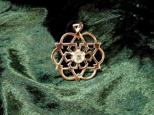 Inlaid Egg of Life Star Gold with Citrine