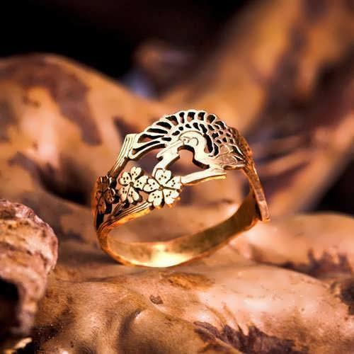 טבעת עגורים יפנית - זהב