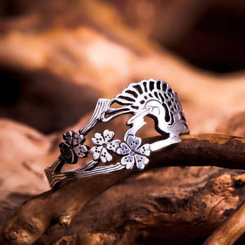 טבעת עגורים יפנית - כסף
