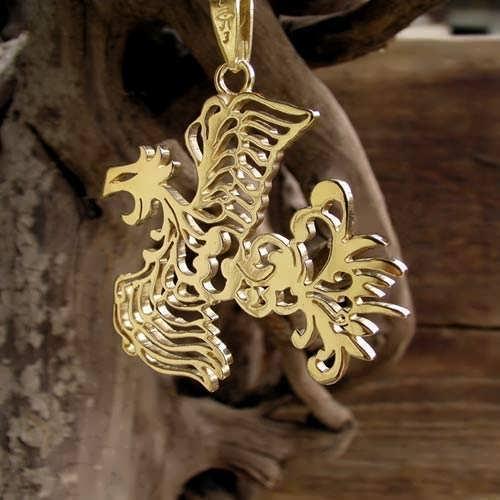 Phoenix pendant gold japanese phoenix pendant gold aloadofball Image collections