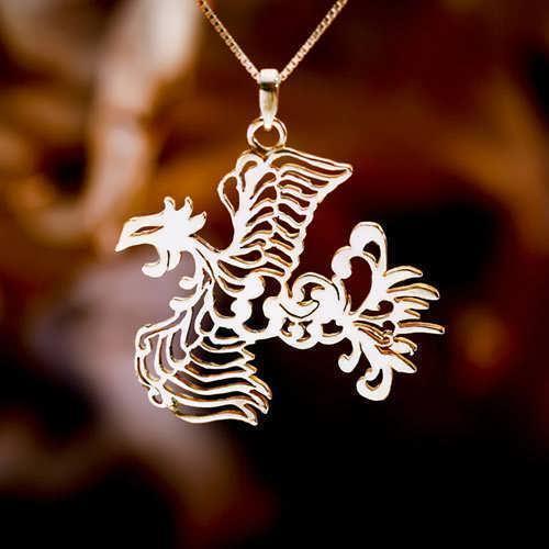 Japanese Phoenix Pendant Gold