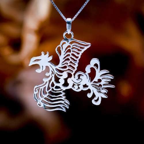 Кулон «Японский феникс», серебро
