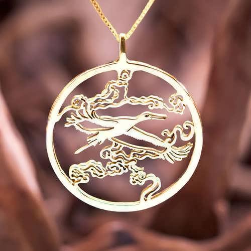Кулон «Японский аист», золото