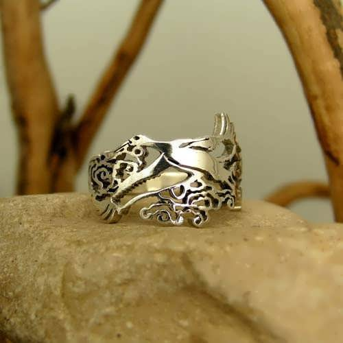 Кольцо «Японский аист», серебро
