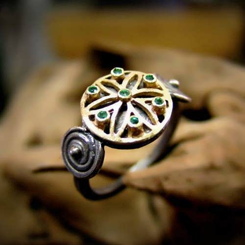 Ka Ring Gold and Silver with Gemstones with Emerald