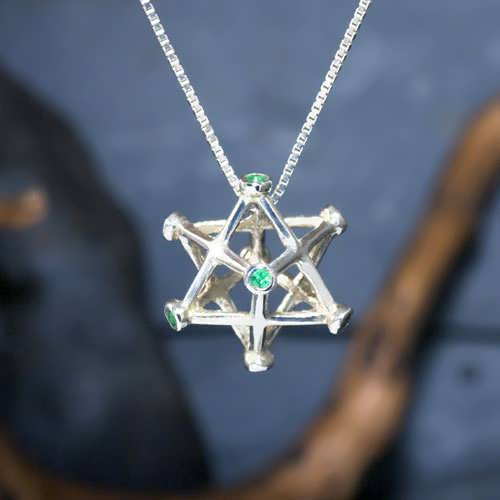 Inlaid Merkaba Silver Medium with Emerald