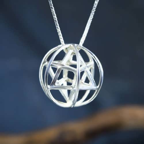 Merkaba With Prana Sphere Silver Medium