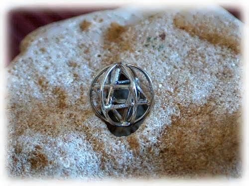 Кулон «Меркаба со сферой праны», серебро, маленький