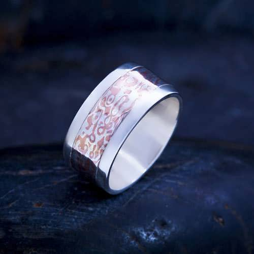 Mokume wedding ring silver (Sold Out)