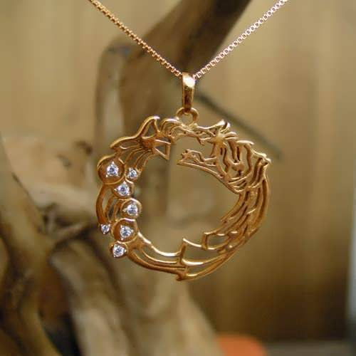 Ouroboros Pendant Gold with Diamonds