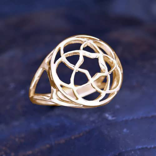 Pentagramic Torus Knot Ring Gold