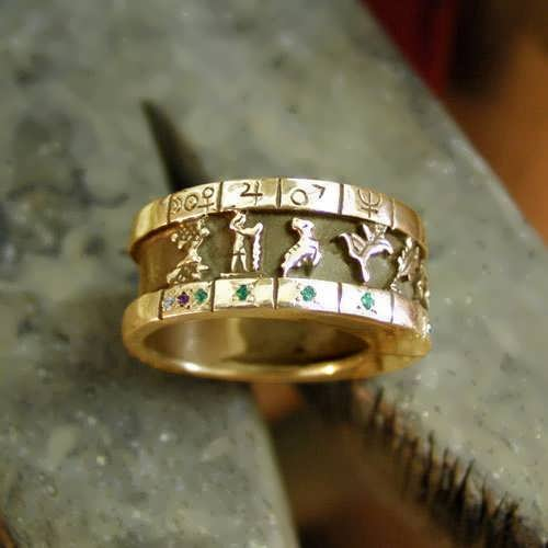 Personalized Cosmic Sigil Talisman Ring - Gold