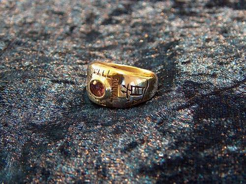 Ring of tao small gold with Garnet