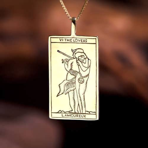 Tarot Lovers Card Pendant Gold