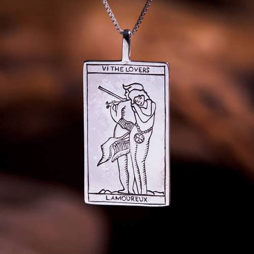 Tarot Lovers Card Pendant Silver