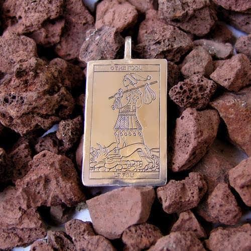 Pendentif argent carte de Tarot, le fou