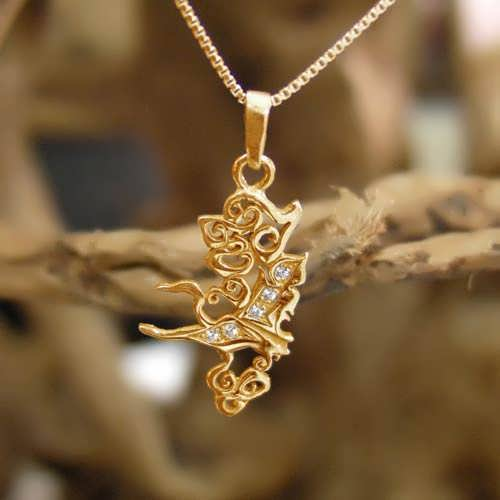 Air Element Pendant - Gold Small with Diamonds