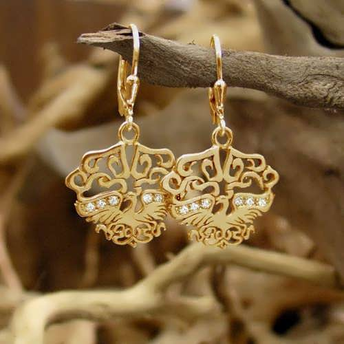 The Fire Element Earrings Gold With Diamonds