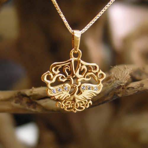 Fire Element Pendant Gold Small with Diamonds