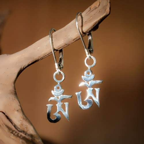 Om Earrings Silver