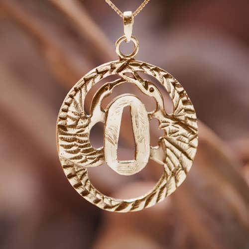 Tsuba mit Kranich Gold