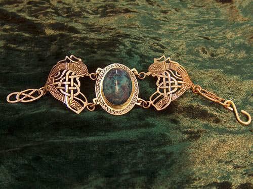 Viking's freedom bracelet with Chrysocolla