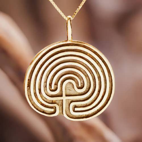 Labyrinth Pendant Gold