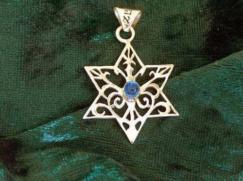 Inlaid Star of david  - Gold with sapphire