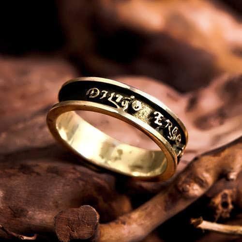Diligo Ergo Sum Ring Gold (narrow)