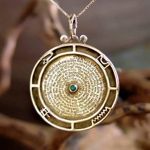 Emerald Tablet pendant gold