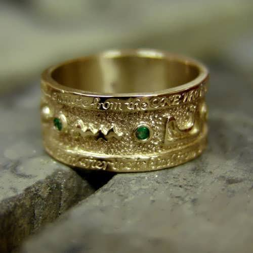 Emerald Tablet Mercury Ring Gold