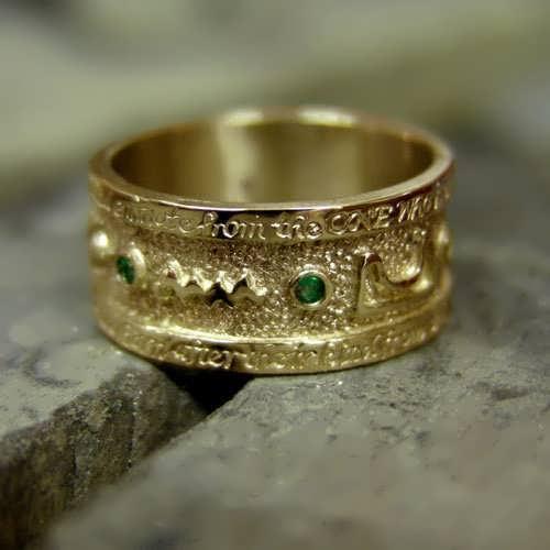 Emerald Tablet Mercury Ring Gold