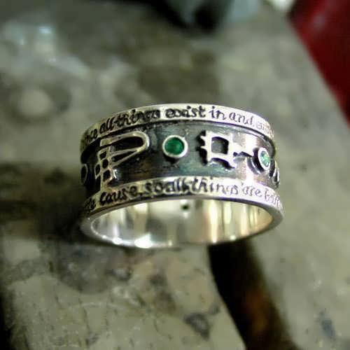 Emerald Tablet Mercury Ring Silver