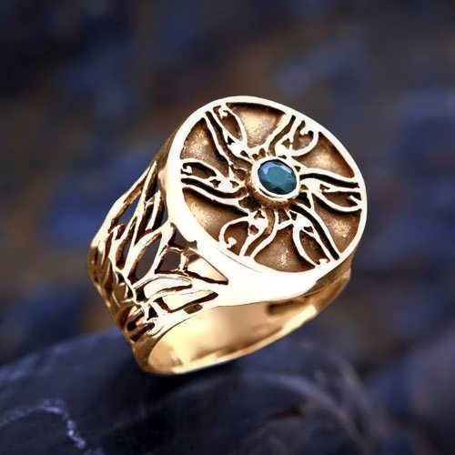 Eye of Horus Ring Gold with Emerald