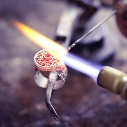 טבעת העין של הורוס מלכותית כסף וזהב